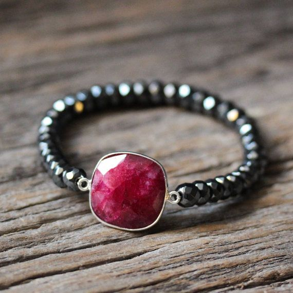 Ruby Hematite Stacking Bracelet / Beaded Bracelet / Red July Birthstone, Crimson Metallic Boho Jewelry, Grey Gemstone Statement Beadwork