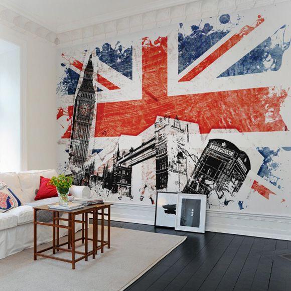 Rebel Walls foto behang interiors wallpaper behang woonkamer behang slaapkamer #trendy #interieurtrends union-jack-
