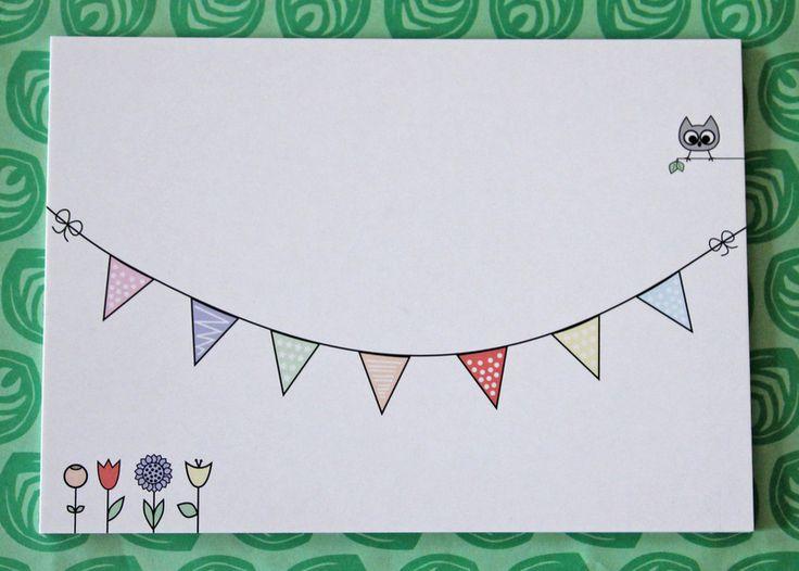 10x Postkarte Eule & Wimpelkette Set von designbykaro auf DaWanda.com