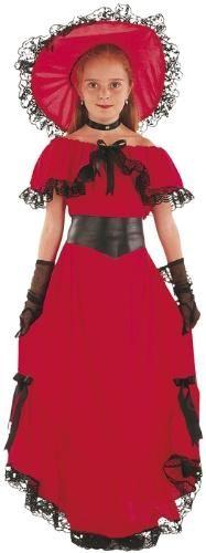 Amerikan Vahşi Batı Scarlet Kostümü, 7-9 Dönem kostümü, ülke kostümü, gösteri kostümü: Kostümlü parti, kıyafet balosu, okul gösterileri, doğum günü partileri için ideal Vahşi Batı Kostümü.  Kostüm şapka, elbise ve kemerden oluşmaktadır. Eldivenler kostüme dahil değildir.