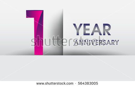 one year Anniversary celebration logo, flat design isolated on white background, vector elements for banner, invitation card for 1st birthday party