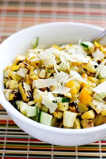Grilled Summer Squash Salad | http://perrysplate.com