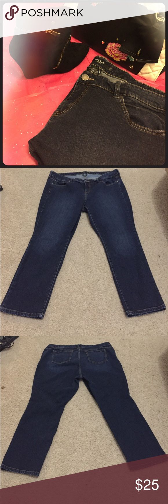 🔥Size 22 Torrid Skinny Jeans🔥 These are a pair of wardrobe essential skinny jeans by Torrid. Simple, dark rinse with some decorative fading make these jeans sure to work with all your outfits all year round! No rips or stains! Inseam: about 27.5 in. I included a close up of the leg opening so y'all could see that they are skinnies! Betsey Johnson bag and booties in covershot also for sale!! torrid Jeans Skinny