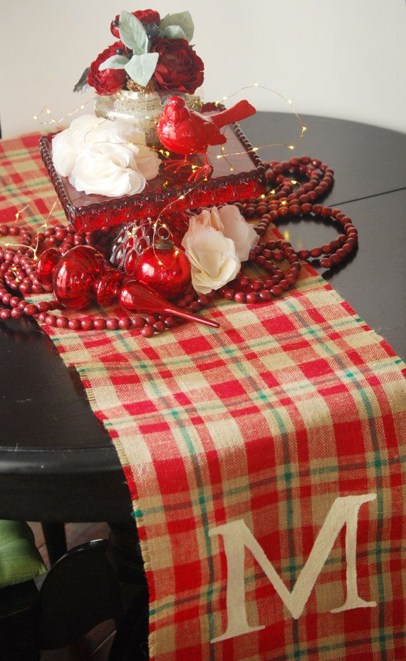 Christmas Plaid Burlap Table Runner 18 X 8u0027 Monogram By Loveburlap, $18.00