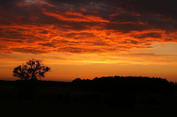 sunset sky after storm, orange fire sky,