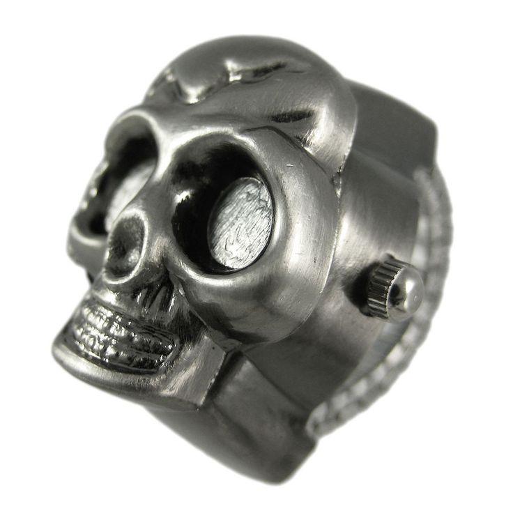 Cool Gunmetal Finish Flip-up Skull Watch Stretch Ring #Zeckos