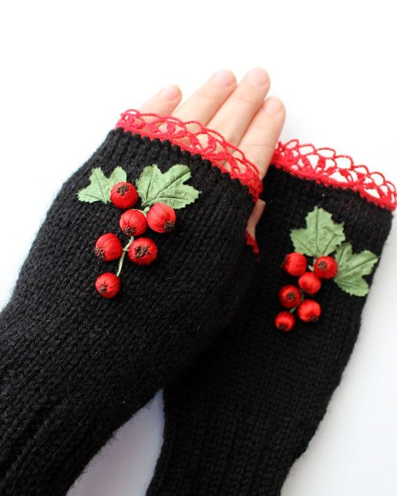 Hand Knitted Fingerless Gloves, Accessories, Gloves & Mittens, Ribbon Embroidery, Red Currants, Elegant, Back, Red, Green, Spring, For Women on Etsy, $38.00