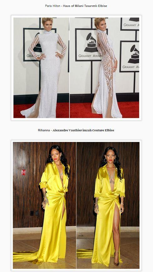 Ünlülerin Grammy Müzik Ödüllerinde giydikleri kıyafetler hangi markalara ait öğrenmek ister misiniz? Paris Hilton - Haus of Milani Tasarımlı Elbise Rihanna - Alexandre Vauthier imzalı Couture Elbise #couture #dress #parishilton #rihanna #grammyawards #grammy #awards #model #style @Annie Compean Johnson