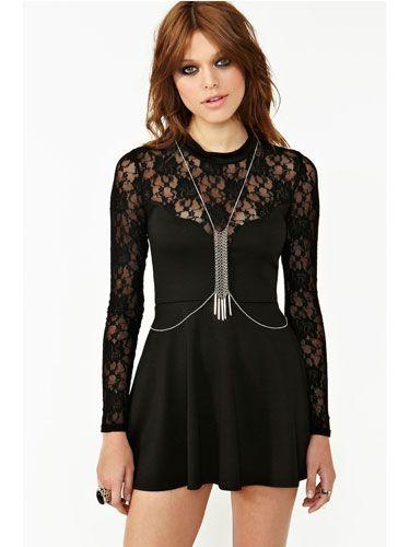 Body chain with black dress