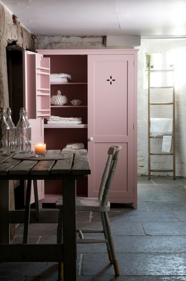 The Worn Grey Limestone in the cellar at Cotes Mill, had been complemented perfectly by deVOL's pink pantry. The large flagstones give an authentic, rustic finish to the room.