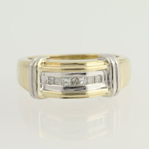 0.33 ct Wedding Princess Shape 10k Yellow & White Gold Men's Ring  #Goldjewellery17 #Band