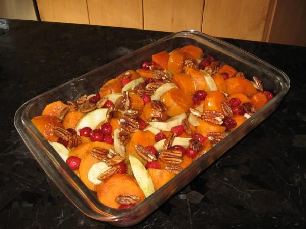 Best darn Thanksgiving yams ever - yams, tart apple, fresh cranberries, pecans with a yummy syrupy glaze