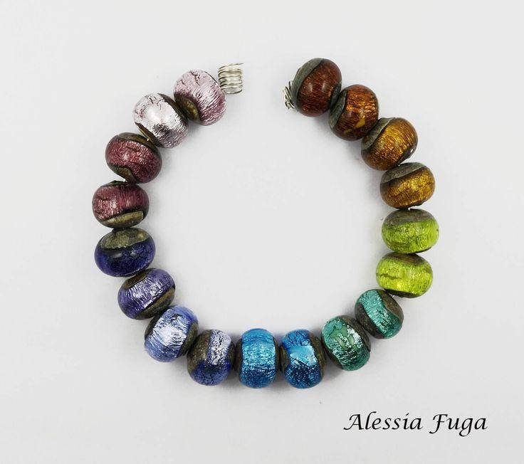 Silver Rainbow lampwork glass beads set- pairs di alessiafuga su Etsy