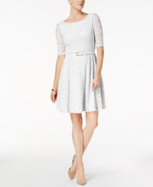 Charter Club Petite Belted Lace Dress, Created for Macy's - White P/XS