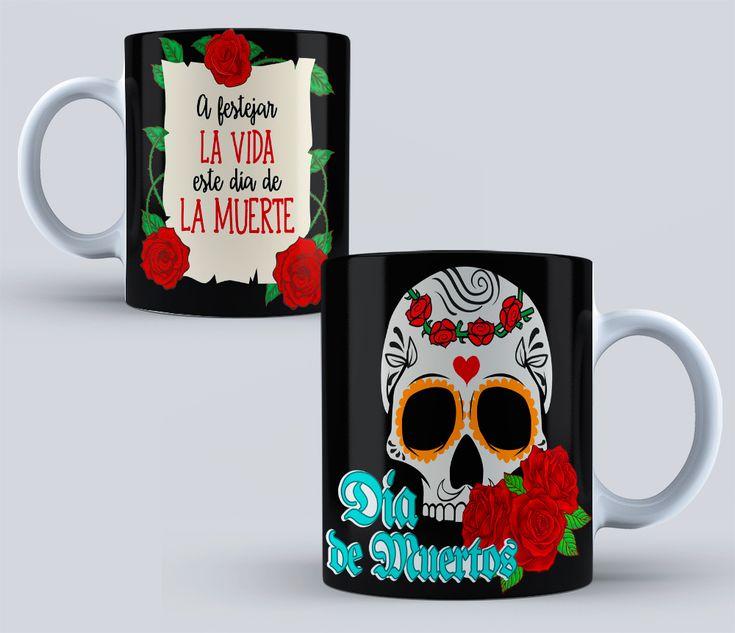 DISEÑOS PARA TAZAS DÍA DE MUERTOS PLANTILLAS PARA TAZAS DÍA DE MUERTOS #mottaplantillas #tazas #sublimacion