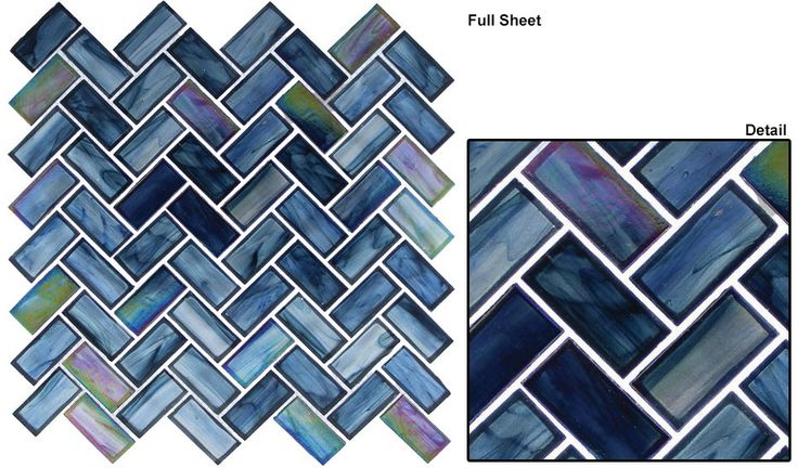 """Mosaic prices are quoted per piece.. Color: Caspian Reflections/ Cobalt Sea/ Mollusk Dawn/ Nautical Garden Full Mosaic Herringbone Pattern Tile size - nominal 1"""" x 2"""" Tile thickness - 1/4"""" (6mm) Grout"""