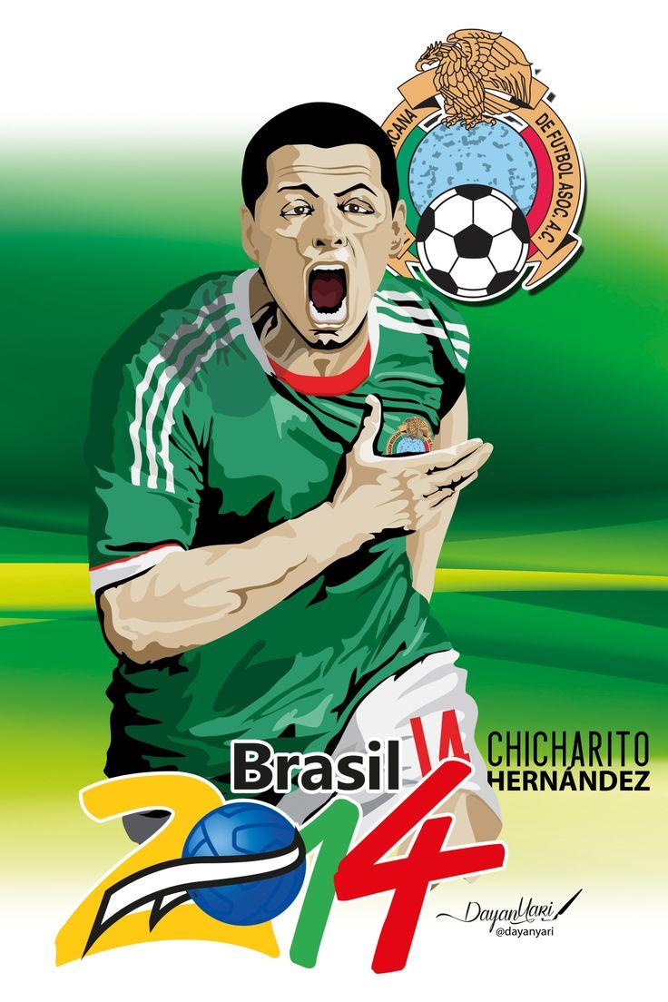 Ilustracion sobre Chicharito Hernández jugador fe futbol de la selección de México, Brasil 2014