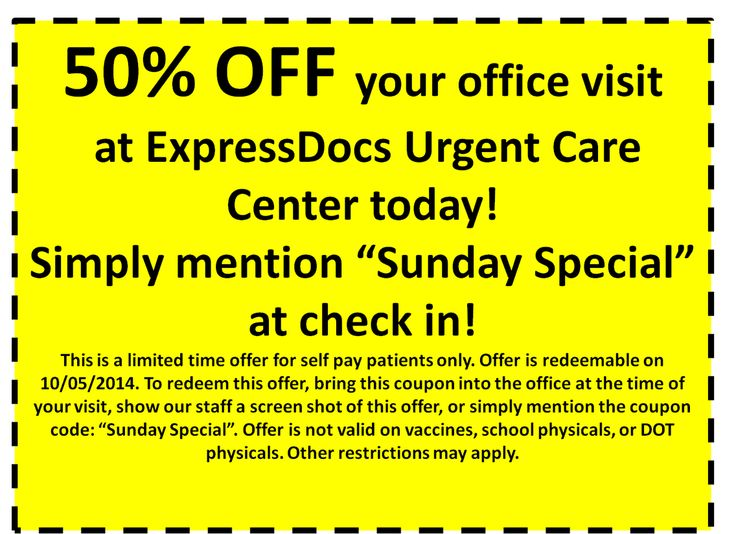 """Walk in to ExpressDocs today with this coupon and receive 50% OFF your entire office visit!! Offer is available for redemption today only! Check out our social media sites for other offers throughout the month! Mention the coupon code """"Sunday Special"""" when you check in. This offer is only valid for self pay patients.   #coupon #discount #medicaldiscount #50%Off #halfPrice #deal #expressdocs #urgentcare #delray #delraybeach #southflorida #soflo #sofla #medicalcare #medicalcenter"""