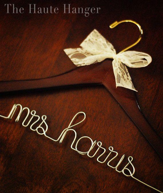 Personalized wedding dress hanger dark wood from the for Wedding dress hanger name