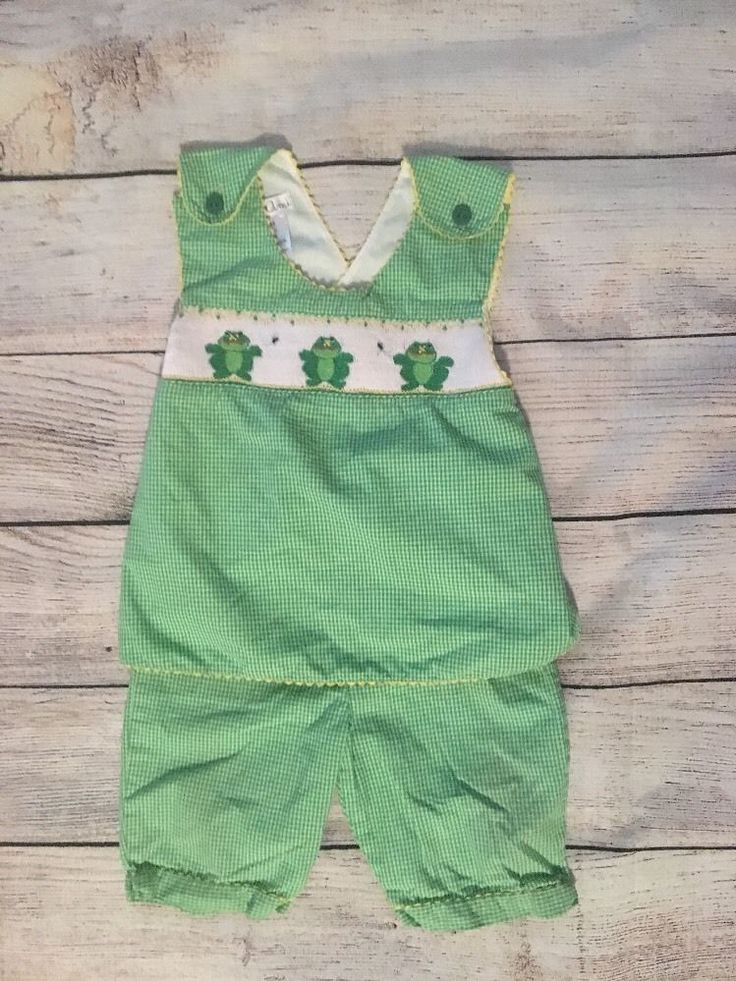 Toddler Girl Baby Petit Ami Smocked Outfit. Size 18 Months Cross Back   eBay 7bd21c27995