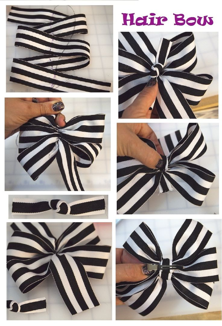 Big Texas Hair Bow    Start with 1 yard of 1.5″ ribbon. Cut 31″ and set aside the spare 5″ piece. Mark five 6″ sections. Run a double-thread stitch through the marks on the ribbon. Pull snugly and gather the ribbon. Shape the loops as you tighten for a pretty arrangement. Tie a knot in the center of the 5″ piece of ribbon. Hot glue the back of the knot in the center of the bow. Wrap 1 end around the back and glue in place. Wrap the 2nd end around a hair clip pin before gluing.