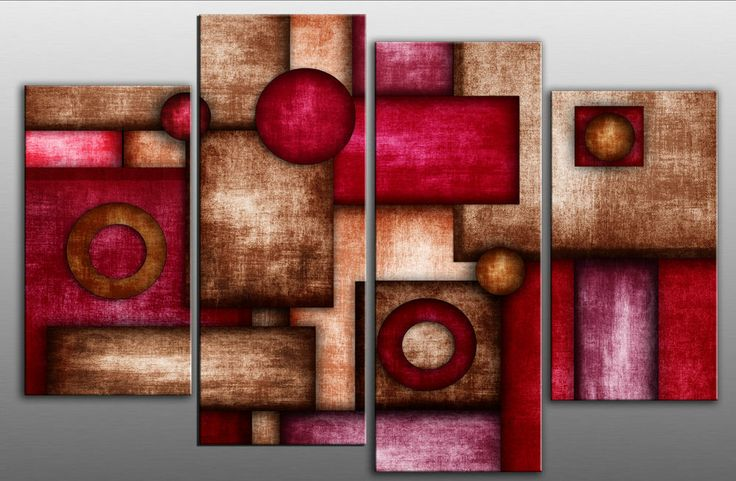Large Abstract Canvas Art Picture Rectangles Red Brown Purple Split Multi panel