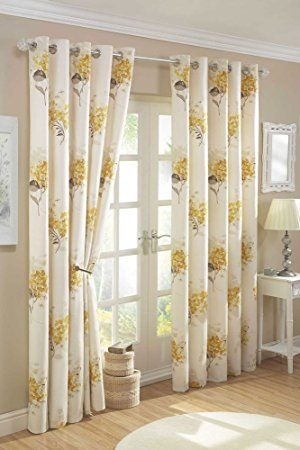 YELLOW GOLD & CREAM LINED CURTAINS WITH EYELET RING TOPS (66 x 72: Amazon.co.uk: Kitchen & Home