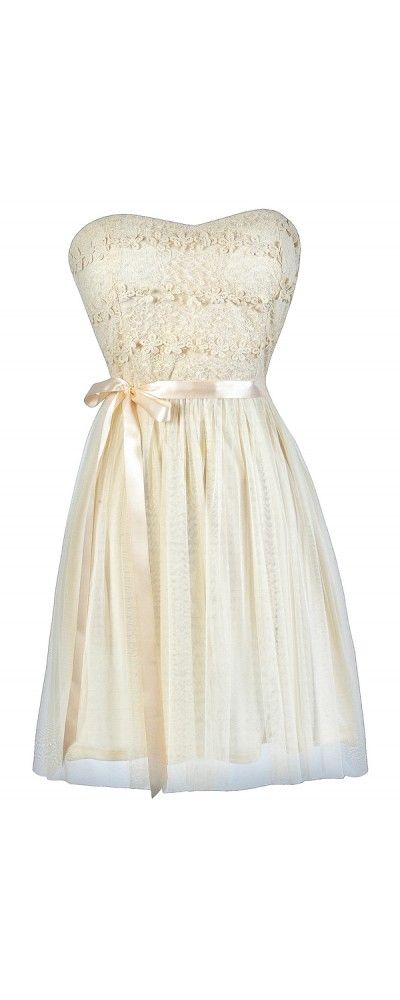 Standing Out Dimensional Crochet Tulle Dress in Cream  www.lilyboutique.com