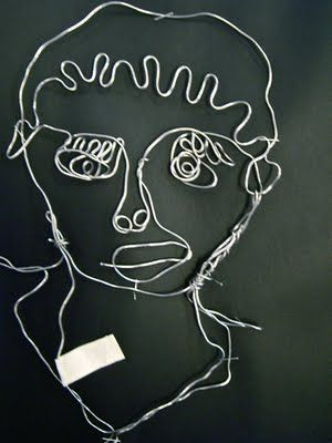 Contour Line Self Portraits turned Wire sculpture (9th grade)
