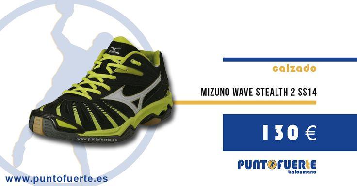Mizuno Stealth2 SS14 (Negro/Lima). El poder de la amortiguación y la comodidad. Una zapatilla para disfrutar en la pista #zapatillas #balonmano #Mizuno Más información: www.puntofuerte.es