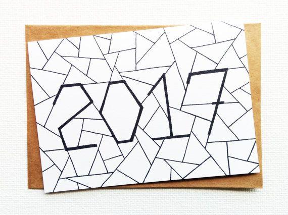 Christmas card - Happy new year card Card new year Holiday card - 2017 Gelukkig…
