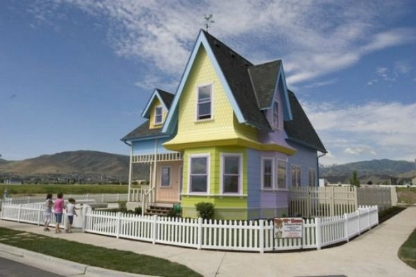 Carl and Ellie's house from the movie 'Up' is now an actual home ready to be moved into. The house was built by Bangerter Homes in the city of Herriman, Utah. The cost of the home is $390,000. Throughout the home you will find that it is true to the movie; it even has the same mailbox. The basement does feature a home theater and two bedrooms. The basement bedrooms are decorated in Disney Princess and 'Toy Story' motifs.Home Theater, Movie House, Movie Facts, Salts Lakes Cities, Up House, Real Life, Basements Bedrooms, Disney Princesses, Disney Movie