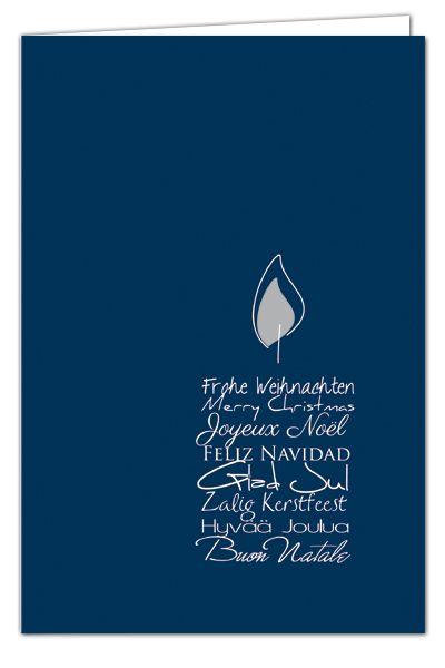 Weihnachtskarte Textkerze - mehrsprachige Weihnachtsgrüße - Blau - mit Umschlag in Silbermetallic