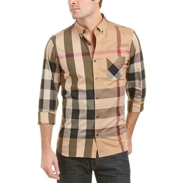 Burberry Thornaby Button-Down Collar Check Stretch Cotton Blend Shirt ($240) ❤ liked on Polyvore featuring men's fashion, men's clothing, men's shirts, men's casual shirts, brown, mens print shirts, mens brown shirt, mens checked shirts and mens checkered shirts