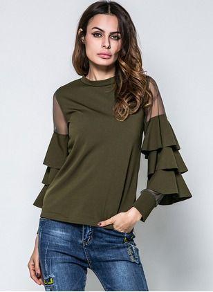 Cotton Solid Round Neck Long Sleeve Elegant T-shirts
