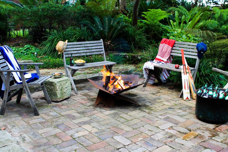 Ready for an afternoon of backyard cricket and swimming, with a few coldies around the  Fire-Away fire pit. www.fire-away.com.au