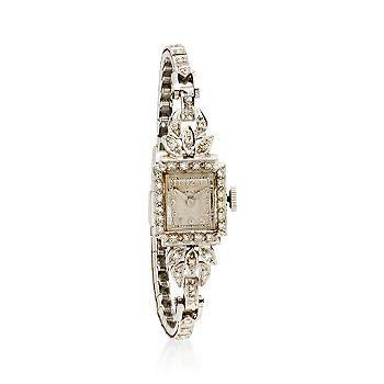 1950 Vintage Hamilton Women's Diamond Watch In Platinum, very very pretty