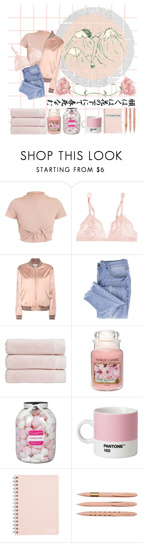 """""""Pastel Pink"""" by kookies-princess ❤ liked on Polyvore featuring La Perla, Yves Saint Laurent, Essie, Christy, Yankee Candle and Farhi by Nicole Farhi"""