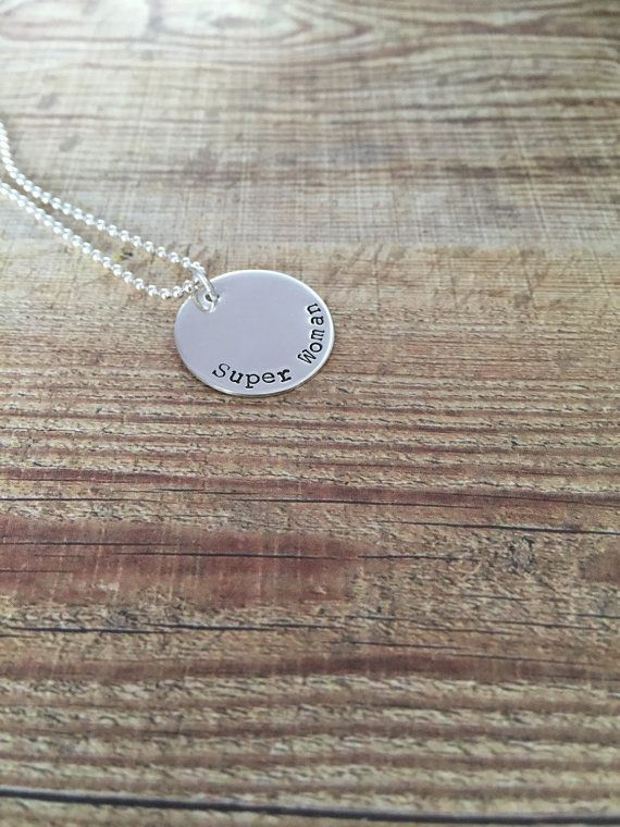 Super Woman  Hand Stamped Sterling Silver by TwistedJewelleryCreations