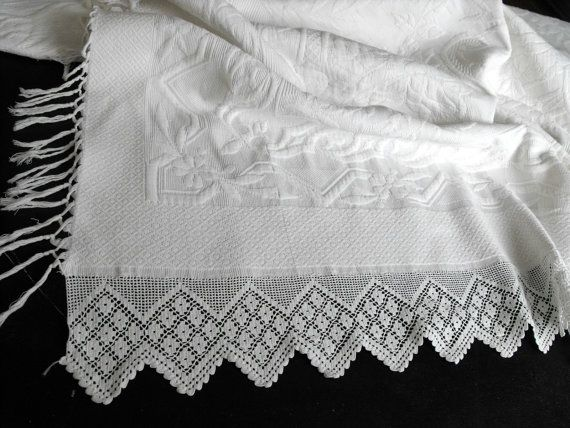 Vintage French Coverlet  White French Pique by Vintagefrenchlinens, $525.00