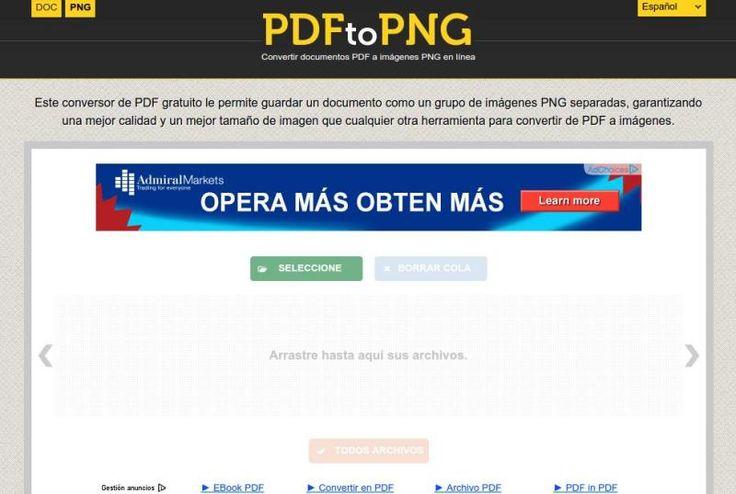 PDFtoPNG es una utilidad web gratuita, sin necesidad de registro, para convertir uno o múltiples documentos PDF en imágenes PNG de gran calidad.