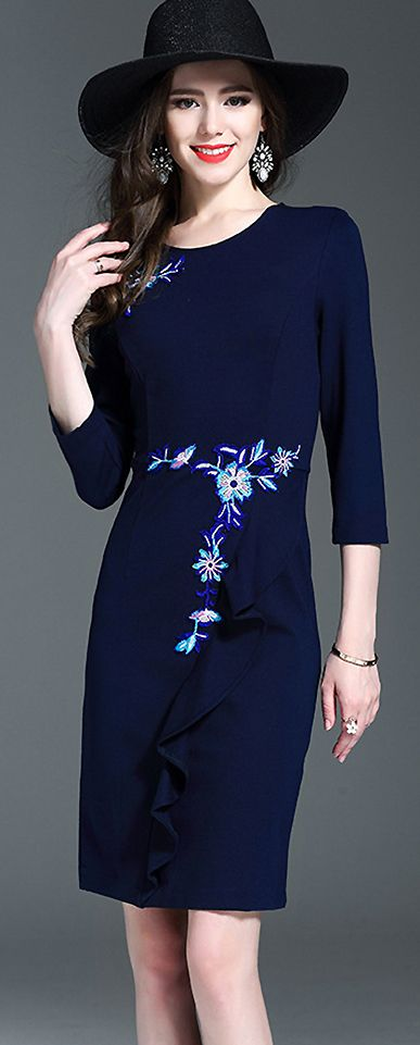 Party Embroidered Stereoscopic Decoration Bodycon Dress