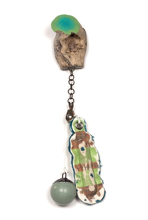 Aric Verrastro Brooch: You Choose #2, 2014 Driftwood, steel, PLA, canvas, cotton, sterling silver, found object, thread, poly-fil, acrylic paint 30 x 8 x 5 cm