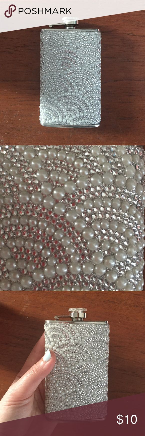 Bedazzled flask For the glam girl that likes to have a good time! Never used, fully covered in crystals and faux pearls, stainless steal 5oz flask. **MUST BE 21 TO PURCHASE ** Accessories