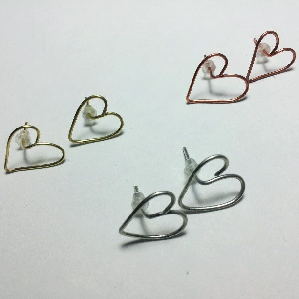 """Heart"" earrings realized with wire technique in colorful wires! For info about price contact me :)"