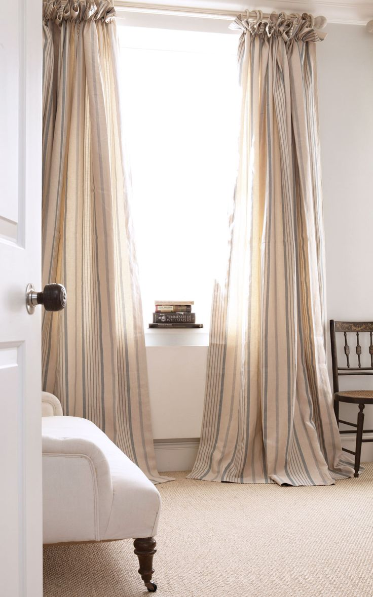 A Classic Ticking In This Fresh Blue Printed On A Smart Herringbone Linen,  Blue Ticking. Diy CurtainsBedroom ...
