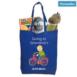"""Product # DC46912 - Personalized tote makes visiting grandma's tons of fun! Brightly coloured tote bag with a charming design on the front has plenty of room for toys, snacks, change of clothes, even a favourite """"blankey"""" - great for a night at grandma's house! Lightweight natural cotton bag. Personalization: Name, up to 10 characters. 16-1/2""""H x 11""""L x 3-1/2""""W  $9.98"""