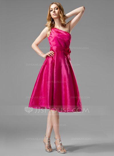 Bridesmaid Dresses - $91.99 - A-Line/Princess One-Shoulder Knee-Length Taffeta Bridesmaid Dress With Ruffle Flower(s) (007004124) http://jjshouse.com/A-Line-Princess-One-Shoulder-Knee-Length-Taffeta-Bridesmaid-Dress-With-Ruffle-Flower-S-007004124-g4124