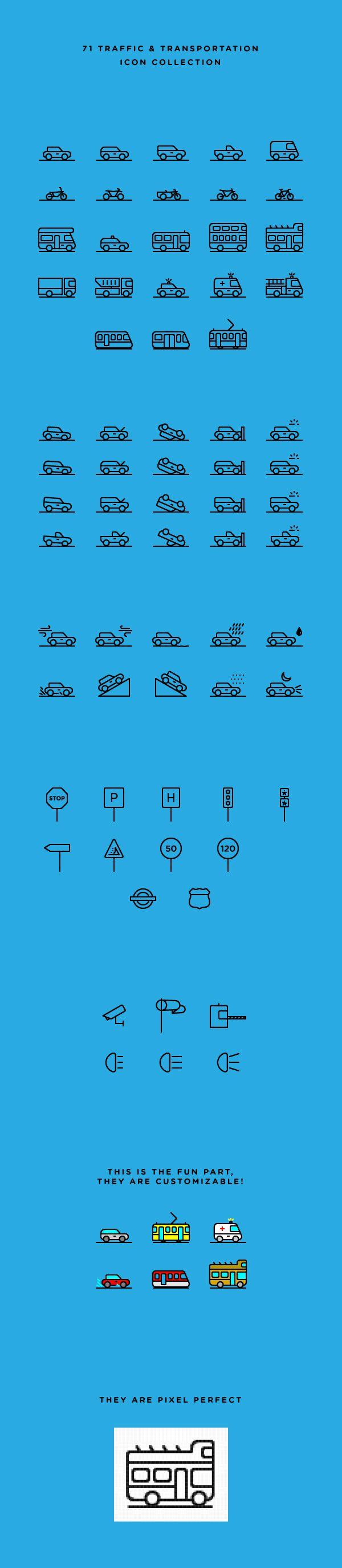 71 Traffic & Transportation Icons | GraphicBurger