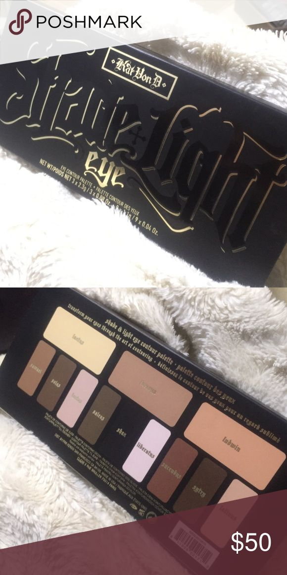 Kat Von D Shade + Light EYE Contour Palette This palette contains: - 3 x 0.08 oz Base shades in Laetus (creamy nude), Lazarus (cool taupe), Ludwin (peachy bronze) - 3 x 0.04 oz Contour shades in Samael (dusty fawn), Saleos (smoky brown), Succubus (rich rust) - 3 x 0.04 oz Define shades in Solas (espresso brown), Shax (jet black), Sytry (chocolate brown) - 3 x 0.04 oz Highlight shades in Lucius (soft beige), Liberatus (pinkish ivory), Latinus (golden bisque) - Step-by-step contouring guide…